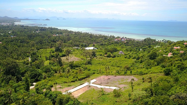 Ko Samui Properties Hillside Land Plots for Sale, Sea view land plots for sale, Thailand land for sale,